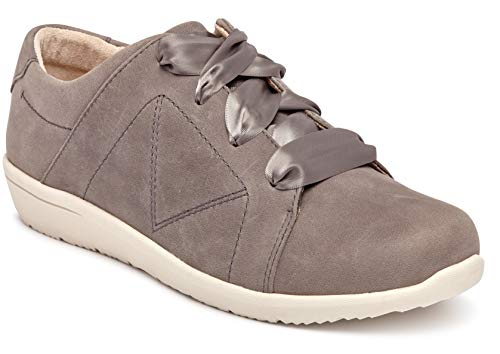 Vionic Women's Magnolia Lindsey Lace Up Flats - Ladies Walking Shoes with Concealed Orthotic Arch Support Slate Grey Nubuck 7.5 M US
