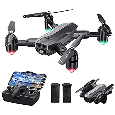 Dragon Touch DF01 Foldable Drone with Camera for Adults, WiFi FPV Drone with 120° Wide-Angle 1080P HD Camera RC Quadcopter with Gravity Sensor, Altitude Hold, Headless Mode, One Key Take Off/Landing from Dragon Touch