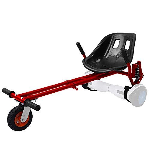YOLEO Hoverkart para Hoverboard con Suspensiones, Silla de Hoverboard, Asiento Hoverkart Go-Kart Silla Kart para Electric Self Balancing Scooter, Compatible con 6.5, 8 y 10 Pulgadas, Rojo