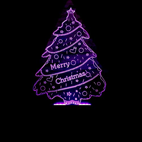 DFDLNL Árbol de Navidad 3D Night Light Led Illusion 3 Lamp Led 7 Color Changing USB Touch Bedroom Christmas Decoration Best Gift