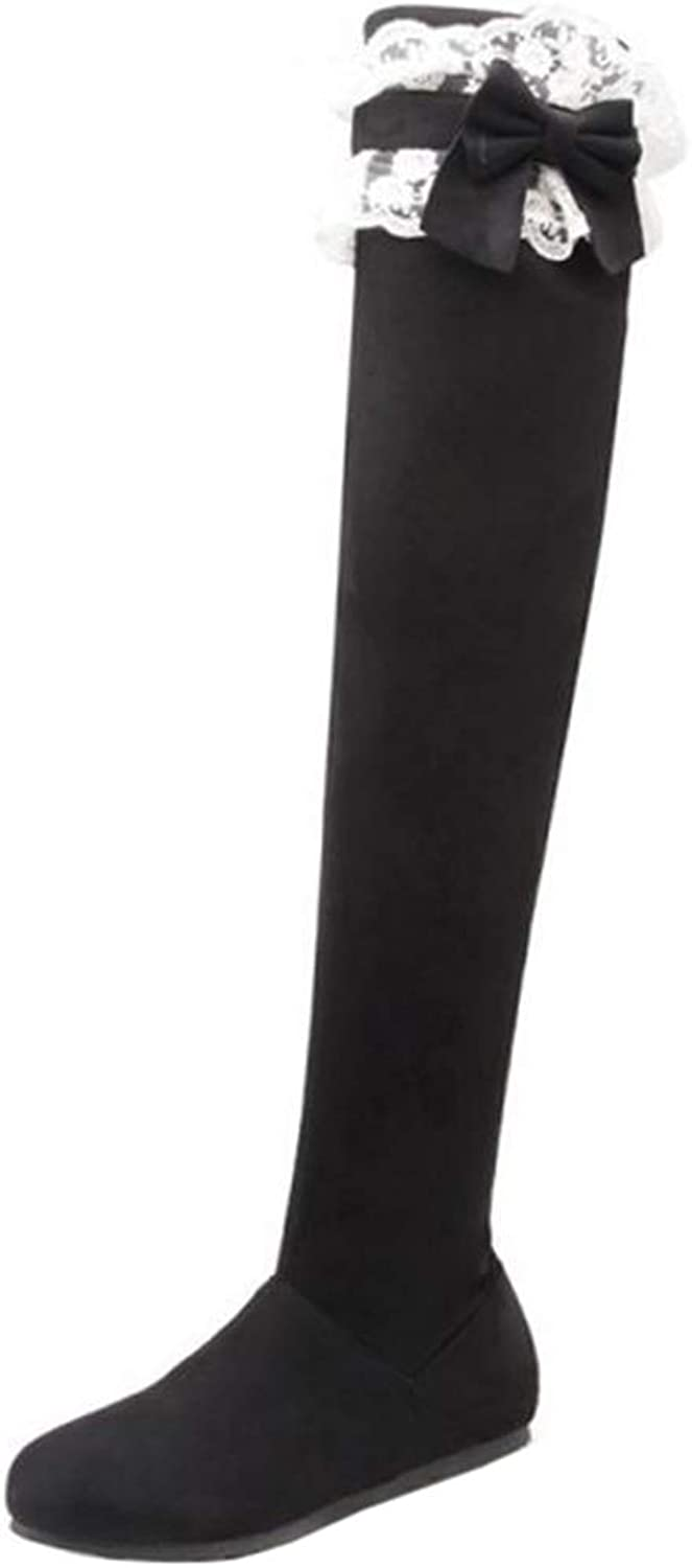 SJJH Women Cute Thigh High Black Boots