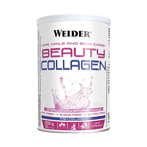 Weider Beauty Collagen Banana 300 g. Hydrolyzed Fish Collagen with SkinAx. Enriched with Vitamin C. Ideal for Skin, Nails and Hair.