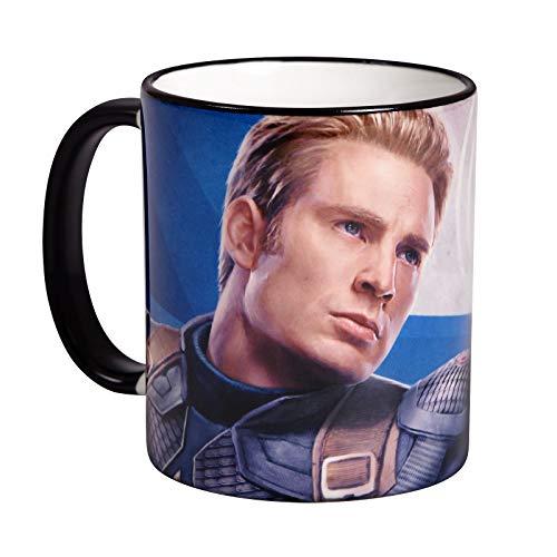 Elbenwald Marvel Tasse Avengers Endgame Captain America Rundumdruck 320 ml Keramik blau