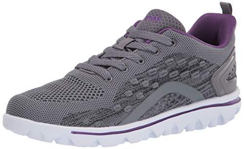 Propét Women's TravelActiv Axial Sneaker, Grey/Purple, 6 UK