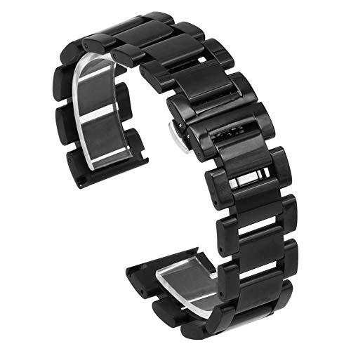Correa de reloj de acero inoxidable brillante de color negro, correa de repuesto para reloj, hebilla de mariposa, 18 mm, 20 mm, 21 mm, 22 mm, 24 mm