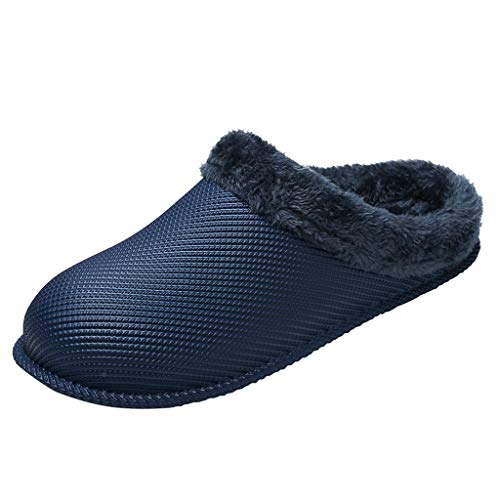 Oldlover✚Men's Faux Suede Clogs Slipper Anti-Skid Plush Fleece House Shoes for Indoor Outdoor Slippers Open Back Shoes Blue