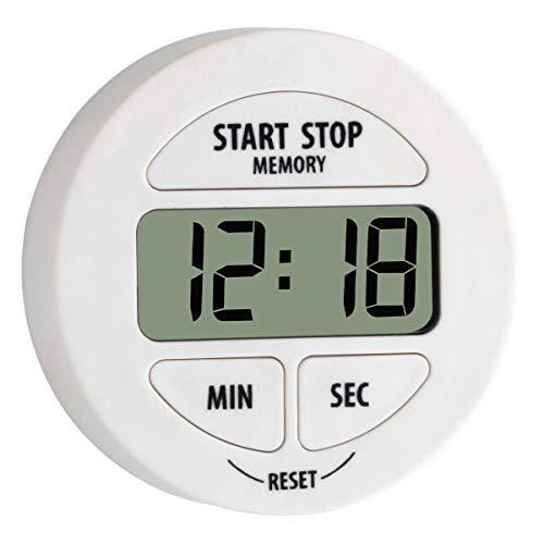TFA Dostmann Digitaler Timer und Stoppuhr, 38.2022.02, klein und handlich, magnetisch, mit Memory-Funktion, weiß, Kunststoff, L 55 x B 17 x H 55 mm