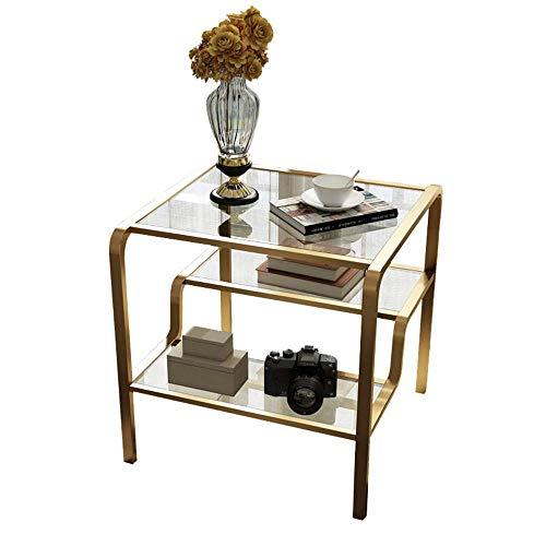 Carl Artbay Home&Selected meubels/Gehard Glas Bijzettafel Mini Koffietafel Sofa Bijzettafel 3 Lagen Opslagplank 60 * 60 * 65CM