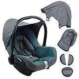 BAMBINIWELT Ersatzbezug für Maxi-Cosi CabrioFix 6-tlg. GRAU/TÜRKIS, Bezug für Babyschale, Komplett-Set XX