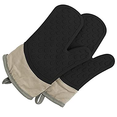 TOPHOME Oven Mitts Grilling Gloves Heat Resistant Gloves BBQ Kitchen Silicone Oven Mitts Long Waterproof Non-slip Potholder for Barbecue Cooking Baking BBQ Gloves Black