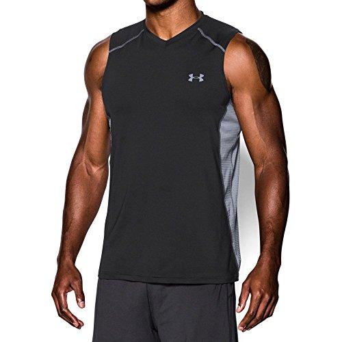 Under Armour Men's Raid Sleeveless T-Shirt, Black /Steel, Large