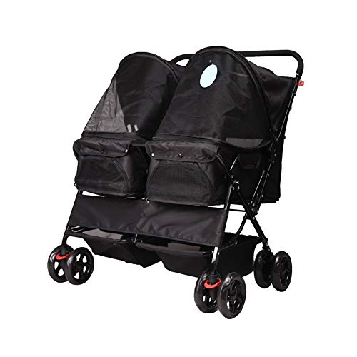 Ryan Hond Pushchair, kinderwagen Pram Carrier Opvouwbare Dubbele Koffer Kooi 4 Wielen Outdoor Reizen Baby Winkelwagen, Zwart