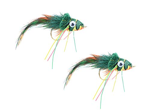 Wild Water Fly Fishing Green, Yellow and Orange Deer Hair Diver, Size 2, Qty. 2
