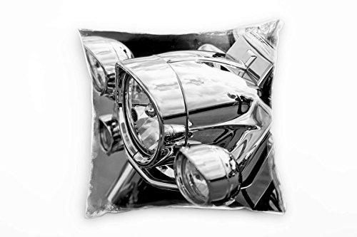 Paul Sinus Art Macro, zwart, wit, koplamp, motorfiets decoratief kussen 40x40 cm voor bank bank bank lounge sierkussen - decoratie om je goed te voelen