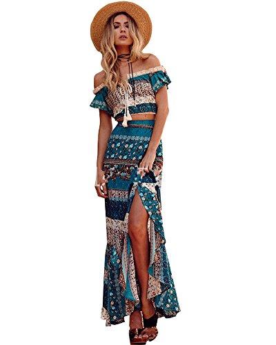 Minetom Mujer Vintage Boho Sin Tirantes Camisa Blusa Crop Top + Maxi Falda Dos Piezas Conjuntos Cóctel Noche Fiesta Playa Vestido Largos