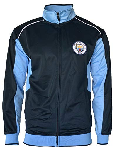 Manchester City Track Jacket Youth Boys Zip Front Soccer Football Official Merchandise (YL, Navy Item# K_BB1D-02)