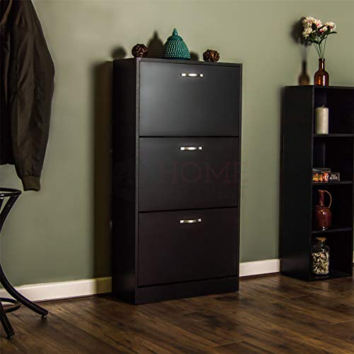 Schuhschrank mit 2 Schubladen zur Aufbewahrung Ausziehen Hölzern Möbelstück Schwarz von Vida Designs