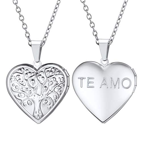 U7 Life Tree Relievo Pattern Heart Locket Pendant & 20Inch Rolo Chain Necklace, Romantic Love Present for Girlfriend Photo Frame Memory Stainless Steel Jewellery for Women TE AMO Necklace (Gift Box)