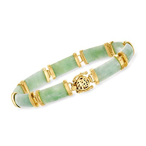 Ross-Simons Green Jade'Good Fortune' Bracelet in 18kt Gold Over Sterling. 7.5 inches