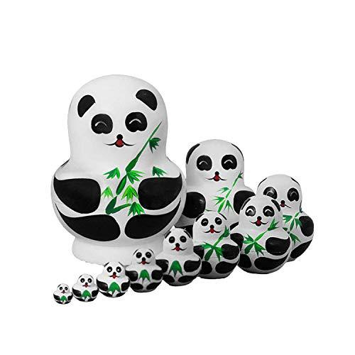 Khosd Juguetes para nios 10 Uds. Linda Pintura de Panda de Madera muecas de anidamiento mueca Rusa Matryoshka Regalo Pintura Juguetes decoracin del hogar Decoracin de Escritorio
