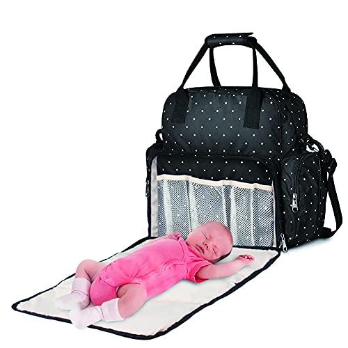 SXFYWYM Bolsa De Pañales Grande Mochila De Viaje para Bebés Multifunción Bolsa De Hombro para Pañales De Maternidad Bolsa De Pañales Mochila con Cambiador Negro con Puerto De Carga USB