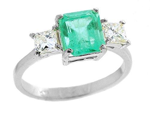 Colombian 2.29ct 3 pietre di diamante e smeraldo sintetici in oro bianco 14 k