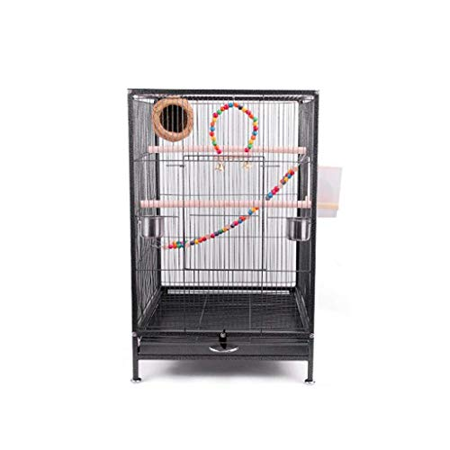 FHKBK Birdcages 75cm Extra Large Bird Cage Metal Travel Bird Cage for Cockatoo/Parrot/Lovebird/Finch Bird Aviary with Perch Stand and Ladder Hanging Toys Travel Bird Cage (Color : C)