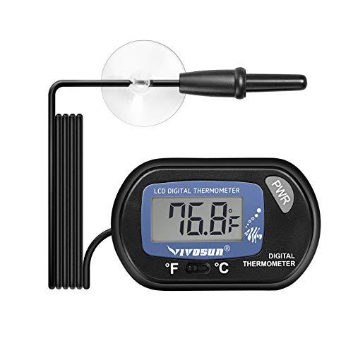 VIVOSUN 1-Pack LCD Digital Aquarium Thermometer Fish Tank Water Terrarium Temperature with Suction Cup for Turtle