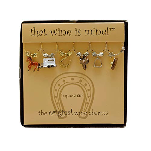 Wine Things 6-Piece Equestrian Wine Charms Painted