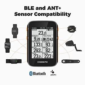 COOSPO Ordenador de Bicicleta GPS Inalámbrico Bluetooth 5.0 y Ant + Ciclocomputador Automática Pantalla LCD Grande de 2,4 Pulgadas