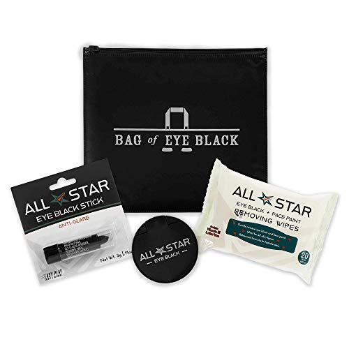 Bag of Eye Black Kit - Anti-Glare Stick, Remover Wipes (20 Pack), Pocket Mirror, and Storage Bag - Gear and Accessories for Baseball, Softball, Football, Lacrosse, Hunting, war face Paint, Halloween