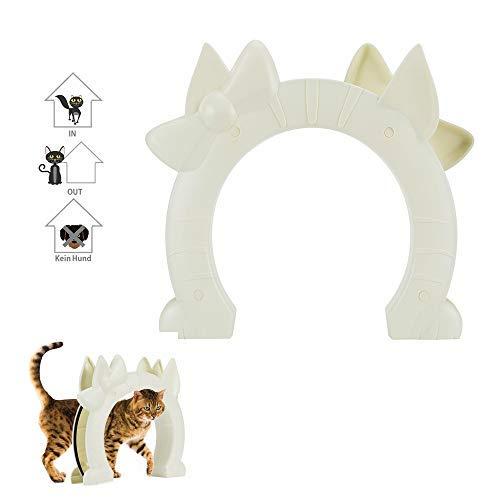 Nasjac Katzentür, Haustiertür für Katzen 2-Wege-Kitty Pass-Innentür für Glastür mit Hohlkern für kleine, mittelgroße Katzen Versteckte Katzentoilette im Keller Schrauben