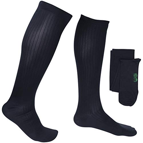 EvoNation Men's Travel USA Made Graduated Compression Socks 8-15 mmHg Mild Pressure Medical Quality Knee High Orthopedic Support Stockings Hose - Best Comfort Fit, Circulation (Large, Navy Blue)