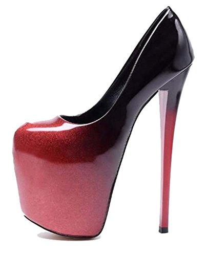 Hbvza Damen Sommer-Sandalen 20 cm dünn Hochabsatz Lackleder Kleid Schuhe Hochzeit Pumps, Rot (rot), 42 M EU