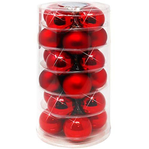 com-four® 24x Weihnachtskugeln, Christbaumkugeln aus echtem Glas für Weihnachten, Baumschmuck für den Christbaum, Ø 6 cm