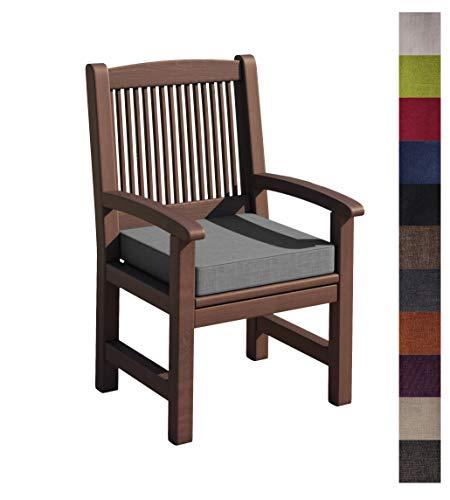 sunnypillow Bankauflage Stuhlkissen mit abnehmbarem Bezug Bankkissen Bankpolster Polsterauflage Auflage für Gartenbank viele Farben und Größen zur Auswahl (45 x 45 x 5cm, Grau)