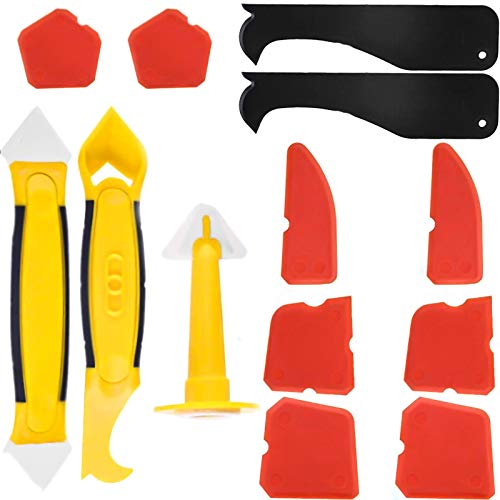13 Pack Silikonentferner & Silikon Fugenwerkzeug, Multifunktionale Profi Silikon Werkzeug Schaber Set für Küche Badezimmer Bode(Rot Gelb)