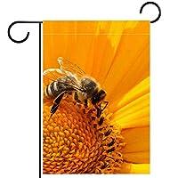 ウェルカムガーデンフラッグ(28x40in)両面垂直ヤード屋外装飾,黄色い花の蜂