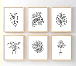 Ink Inc. Botanical Prints - Tropical Plants and Leaves - Line Drawings Wall Art Minimal Black and White Home Decor - Set of 6-8x10 - Matte - Unframed