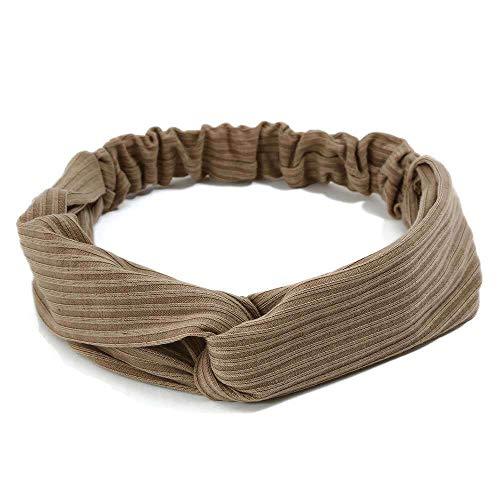 MLMM Fashion Elastic Cross Hair Band Knit Headband Khaki