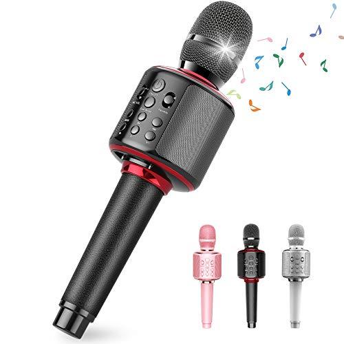 Karaoke Microphone, Wireless Bluetooth Karaoke Microphone for Adults, Portable Handheld Karaoke Machine Mics Kids Microphone with Speaker Duet Sing Birthday Home Party Machine (Black)
