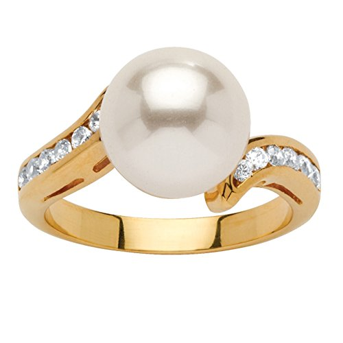 Palm Beach Jewelry 18K Yellow Gold Plated Round Simulated Pearl and Round Cubic Zirconia Ring Size 6