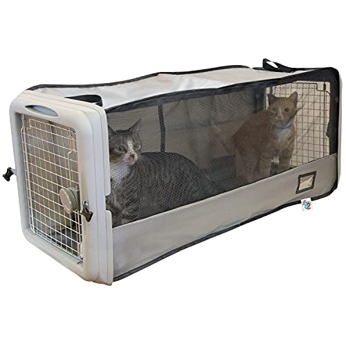 SPORT PET Large Pop Open Kennel, Portable Cat Cage Kennel, Waterproof Pet Bed, Travel Litter Collection