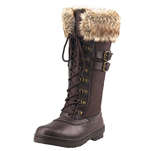 Shenji Zapatos de Mujer de Invierno - Botas de Nieve con Cordones H7627 Marrón 36 (Ropa)