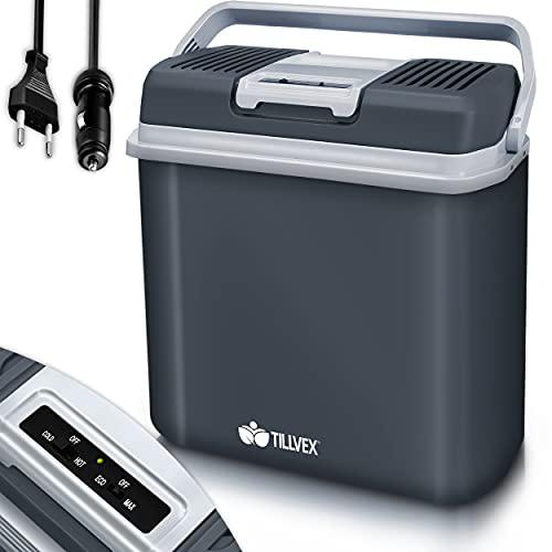 tillvex Kühlbox elektrisch 24L | Mini-Kühlschrank 230 V und 12 V für KFZ Auto Camping | kühlt & wärmt | ECO-Modus (Grau)