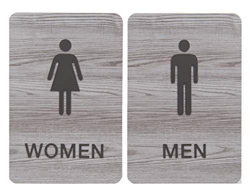 Non-Accessible/Wheelchair Men & Women ADA Restroom (Bathroom) Sign Set w/Braille - Ash Grey