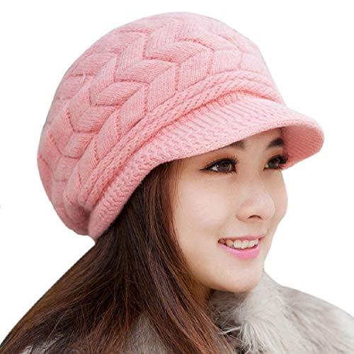 Tuopuda Cappello Donna Invernale Cappello Beanie Cappelli Donna Berretti, cappello con orecchie per Donne, cappello donna inverno con visiera (Rosa)