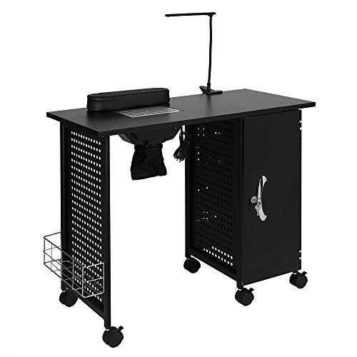 Mefeir Manicure Table Nail Beauty Spa Salon Desk Workstation Iron Frame with Electric Downdraft Vent, Cabinet, Side Basket, Wrist Rest, Casters and LED Lamp, Black
