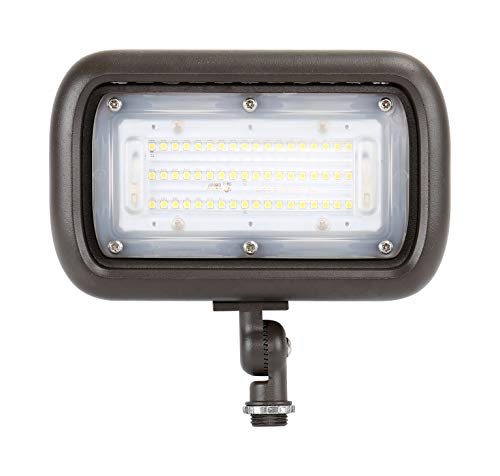 "GKOLED 45W Outdoor Security LED Flood Lights 120-277V, Waterproof, 150W PSMH Equivalent, 5400 Lumens, 5000K Daylight White, 70CRI, UL-Listed, 1/2"" Adjustable Knuckle Mount, 5 Years Warranty"