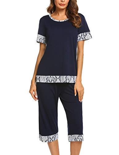 Unibelle Pyjama Court pour Femme Ensemble de Pyjama à Manches Courtes Bleu Marine L